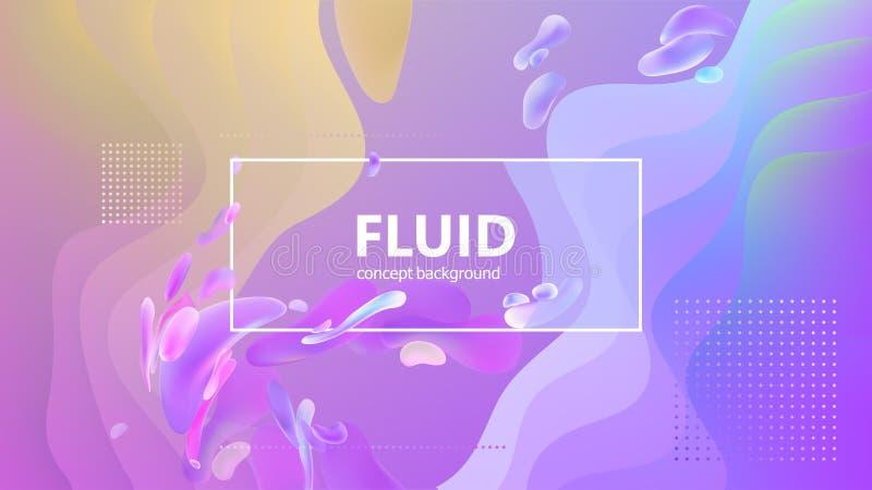 O inclinação fluido dá forma à composição Projeto líquido do fundo da cor Cartazes do projeto Ilustração do vetor ilustração royalty free