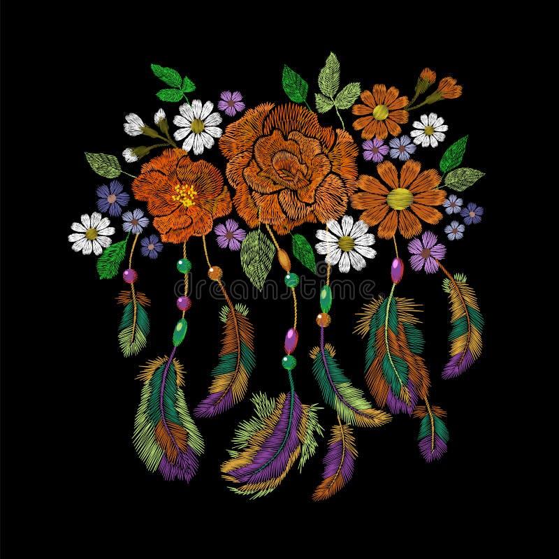 O indiano do nativo americano do boho do bordado empluma-se o arranjo de flores Decoração tribal étnica do projeto da forma da ro ilustração do vetor