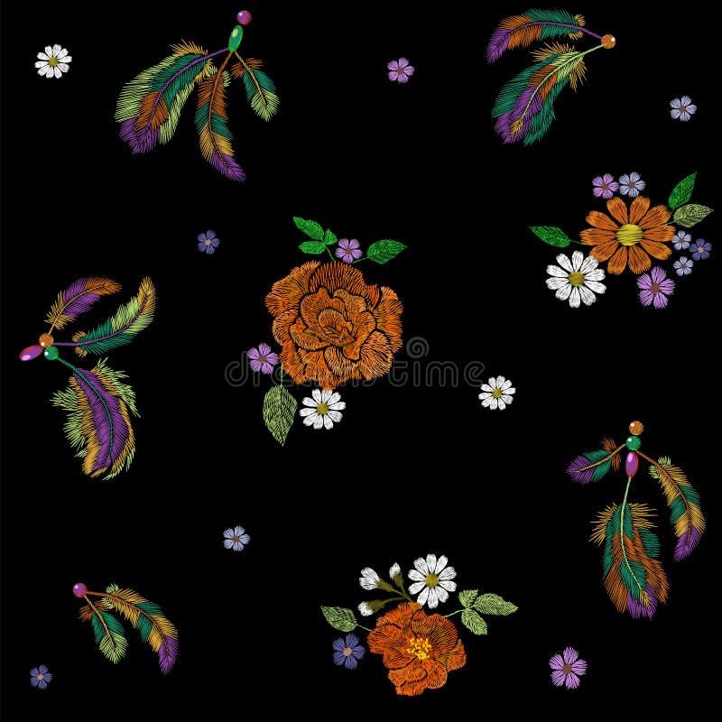 O indiano do nativo americano do boho do bordado empluma-se o arranjo de flores Decoração tribal étnica do projeto da forma da ro ilustração royalty free