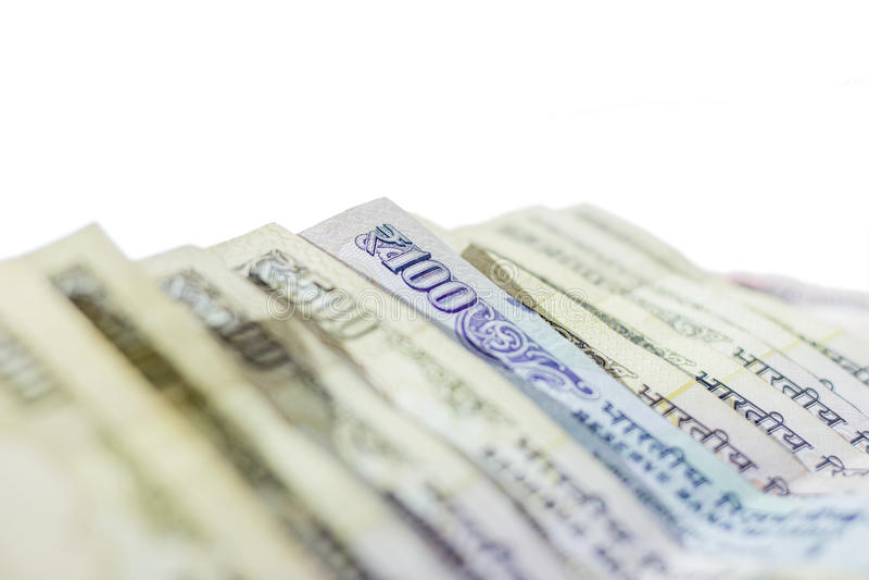 O indiano proibiu a moeda da rupia 500, 100 fotografia de stock royalty free