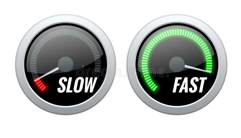O indicador da pontuação de crédito ou jejua e retarda velocímetros da transferência Ilustração do vetor ilustração stock