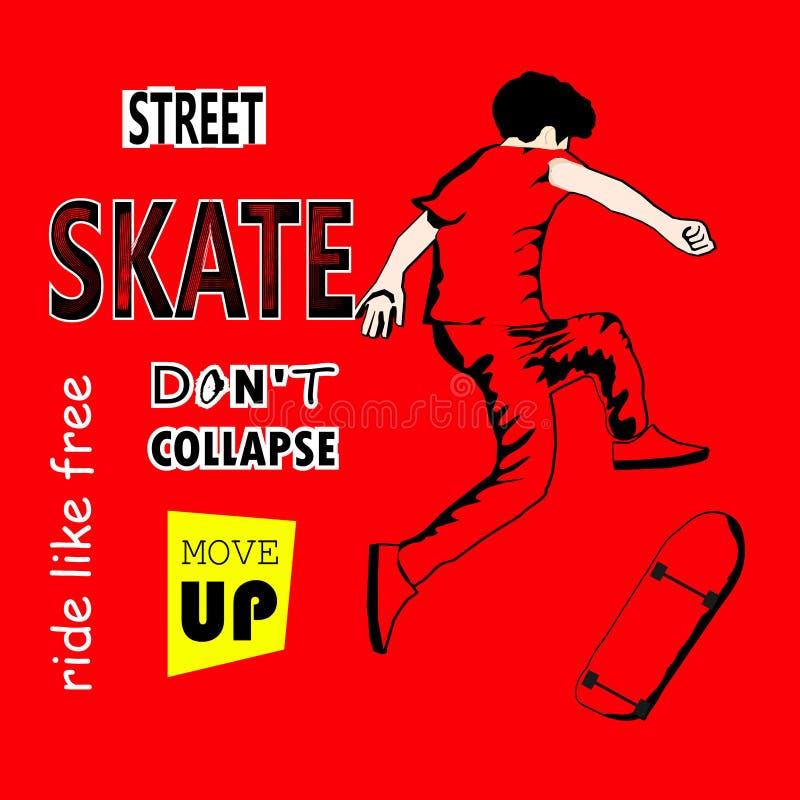 O indivíduo à moda monta um skate nas sapatilhas skateboard skateboarder skater Ilustração do vetor para um cartão ou um cartaz, ilustração do vetor