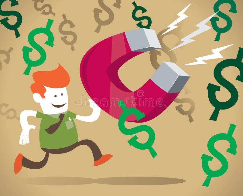 O indivíduo corporativo retro é um ímã do dinheiro. ilustração do vetor