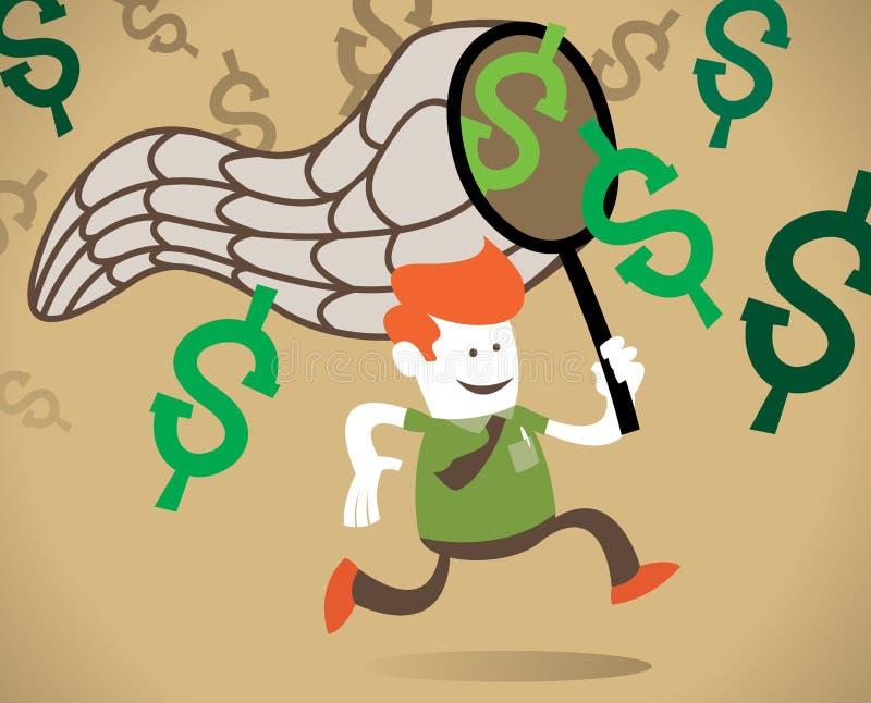O indivíduo corporativo retro persegue o dólar. ilustração do vetor