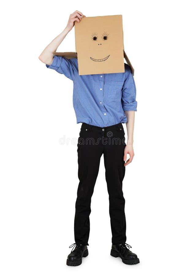 O indivíduo desgastou uma caixa principal com face pintada fotografia de stock