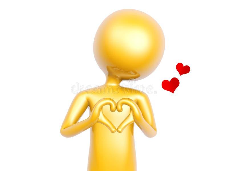 O indivíduo dourado faz o símbolo do amor do coração com as mãos isoladas no branco ilustração royalty free