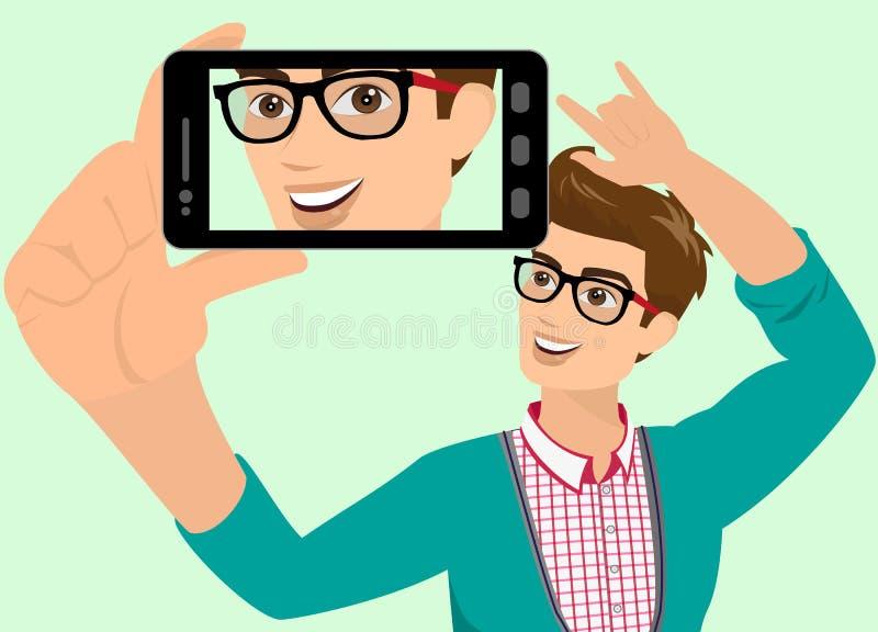 O indivíduo feliz está tomando o selfie ilustração stock