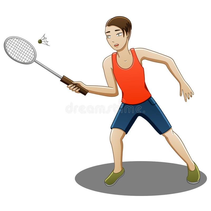 O indivíduo joga o badminton ilustração do vetor