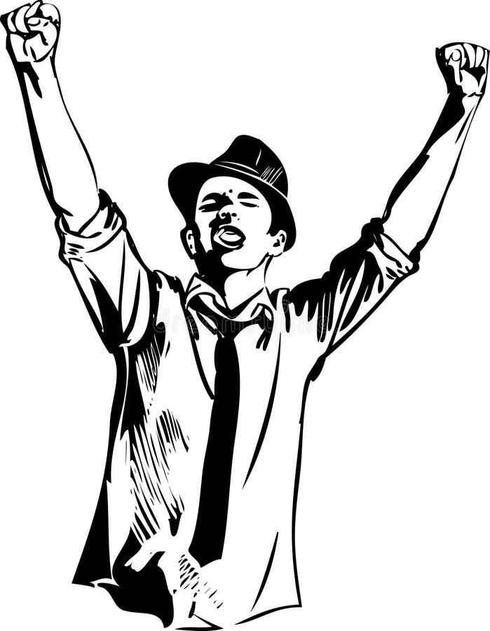 O indivíduo no chapéu levantou seus mãos e gritos ilustração do vetor
