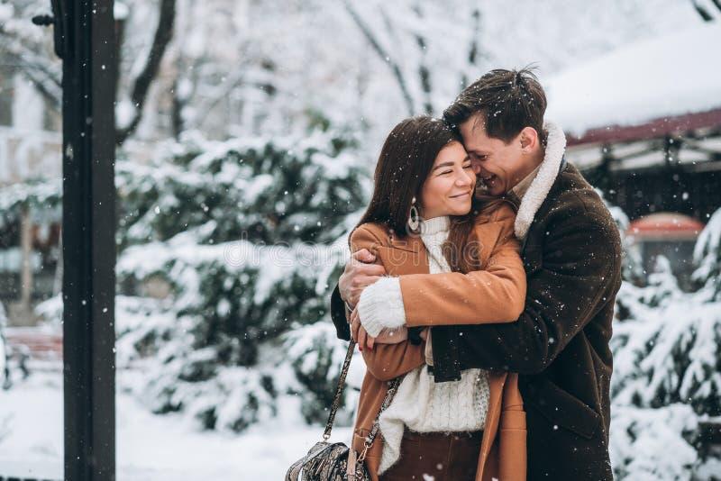 O indivíduo novo abraça uma menina bonita no parque nevado foto de stock royalty free