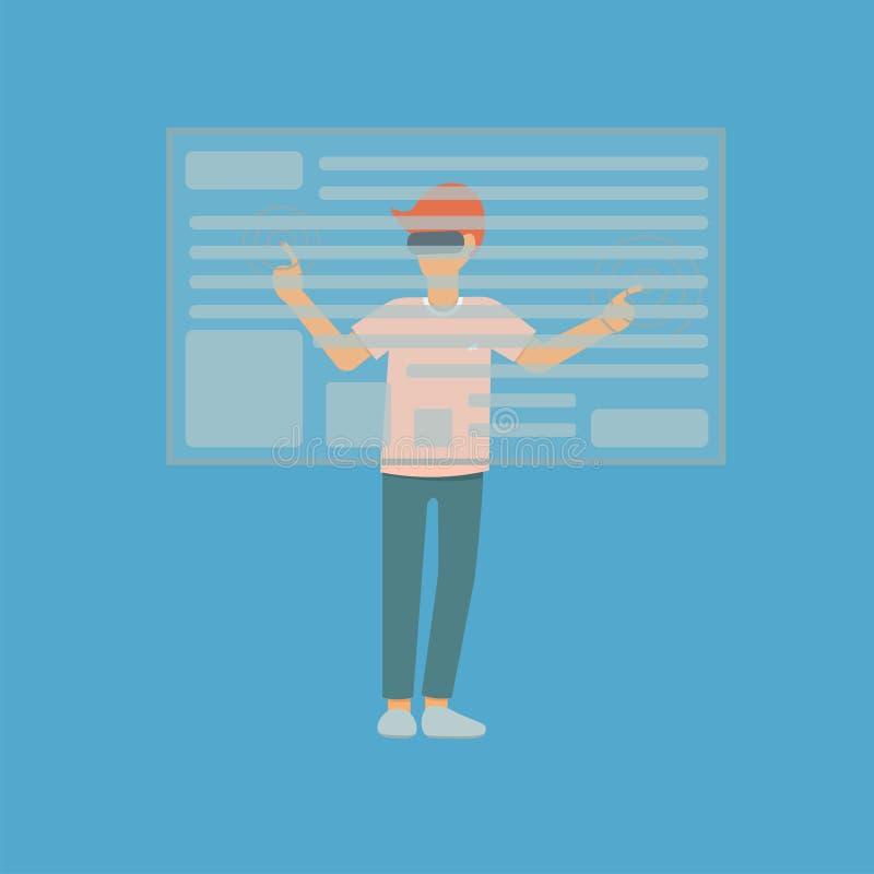 O indivíduo toca na tela virtual ilustração royalty free