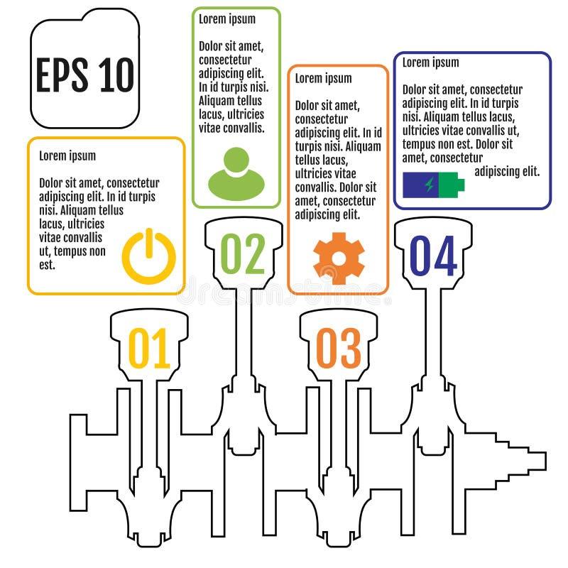 O infographic do conceito baseado no eixo de manivela repare Infograp ilustração stock