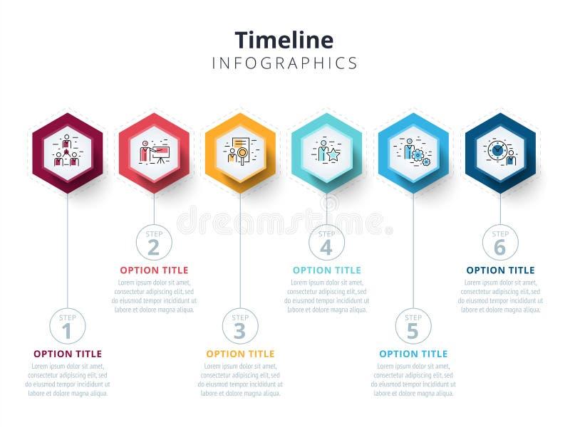 O infographics da carta de processo da etapa do negócio 6 com etapa circunda ilustração royalty free