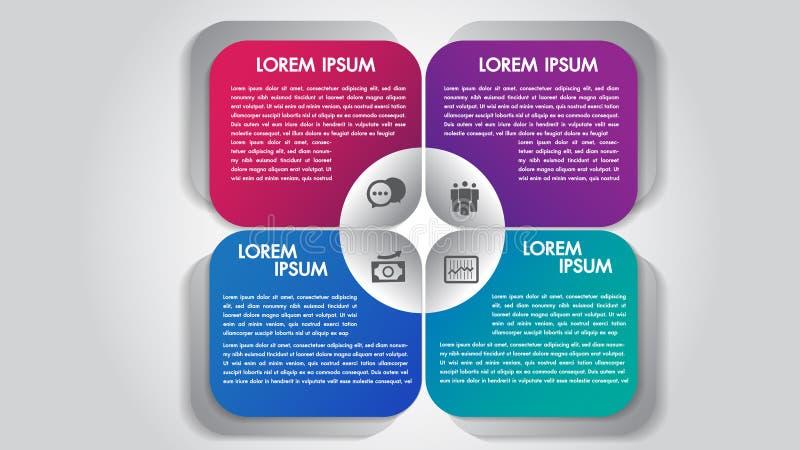 O infographics do negócio 4 opções das etapas projeta o molde Visualização dos dados e da informação Elementos coloridos dinâmico ilustração stock