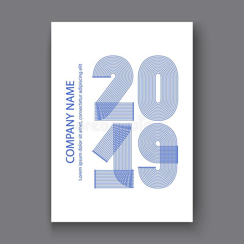 O informe anual da tampa numera 2019, azul do projeto moderno nos vagabundos brancos ilustração royalty free