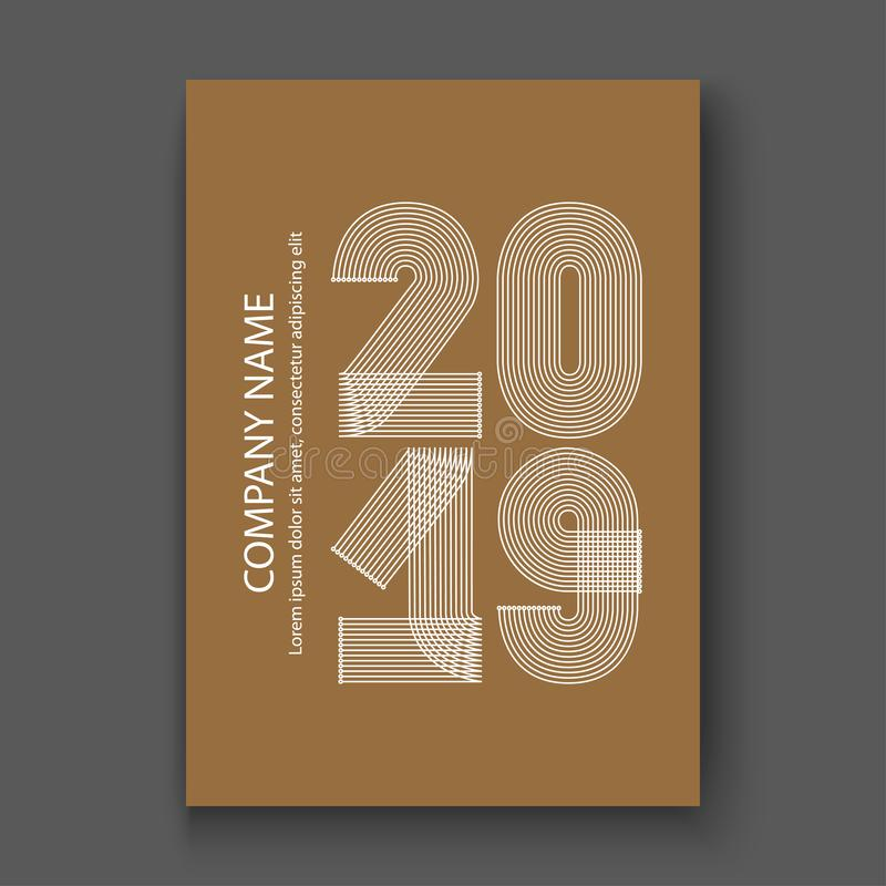 O informe anual da tampa numera 2019, branco do projeto moderno em c marrom ilustração stock