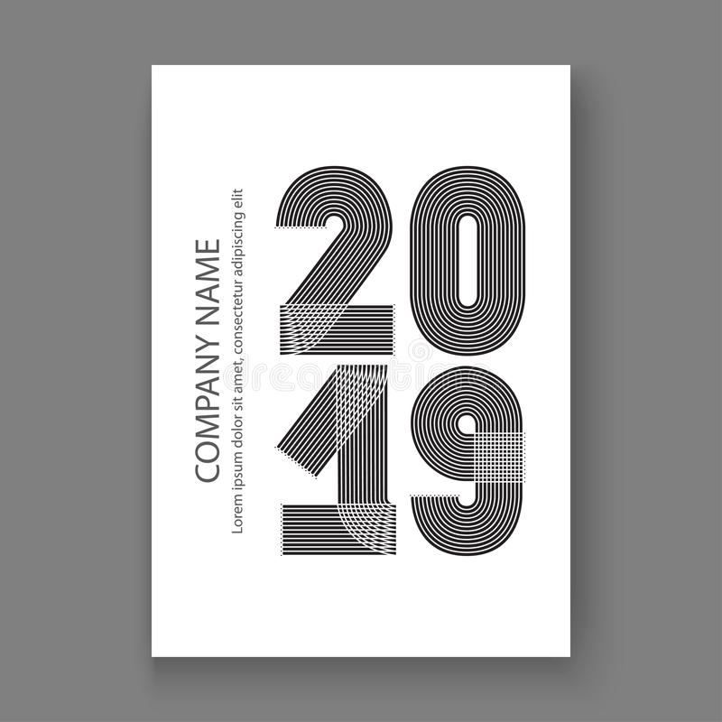 O informe anual da tampa numera 2019, preto do projeto moderno em b branco ilustração stock