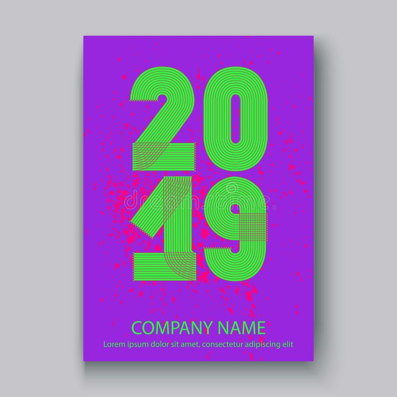 O informe anual da tampa numera 2019, sp de néon colorido do projeto moderno ilustração do vetor