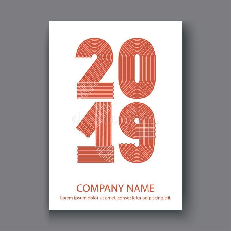 O informe anual da tampa numera 2019, vermelho do projeto moderno no CCB branco ilustração stock