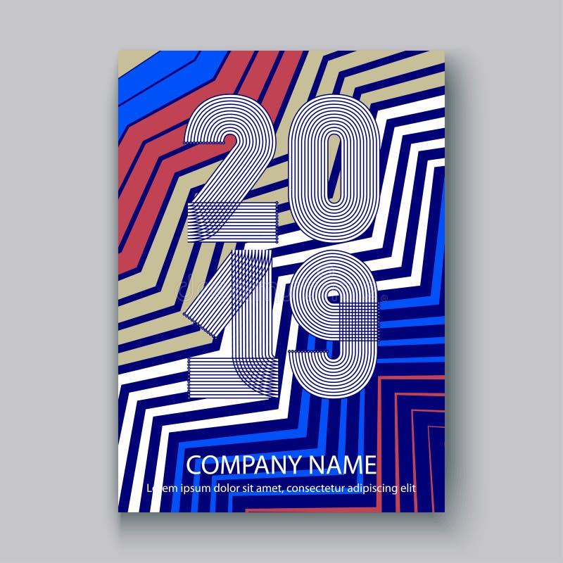 O informe anual da tampa numera 2019, vertical de néon colorido do fundo do ziguezague do projeto moderno, ano 2019 em linhas fin ilustração do vetor