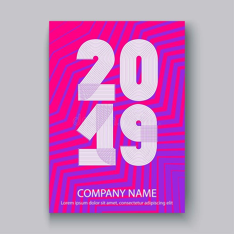 O informe anual da tampa numera 2019, zi de néon colorido do projeto moderno ilustração royalty free