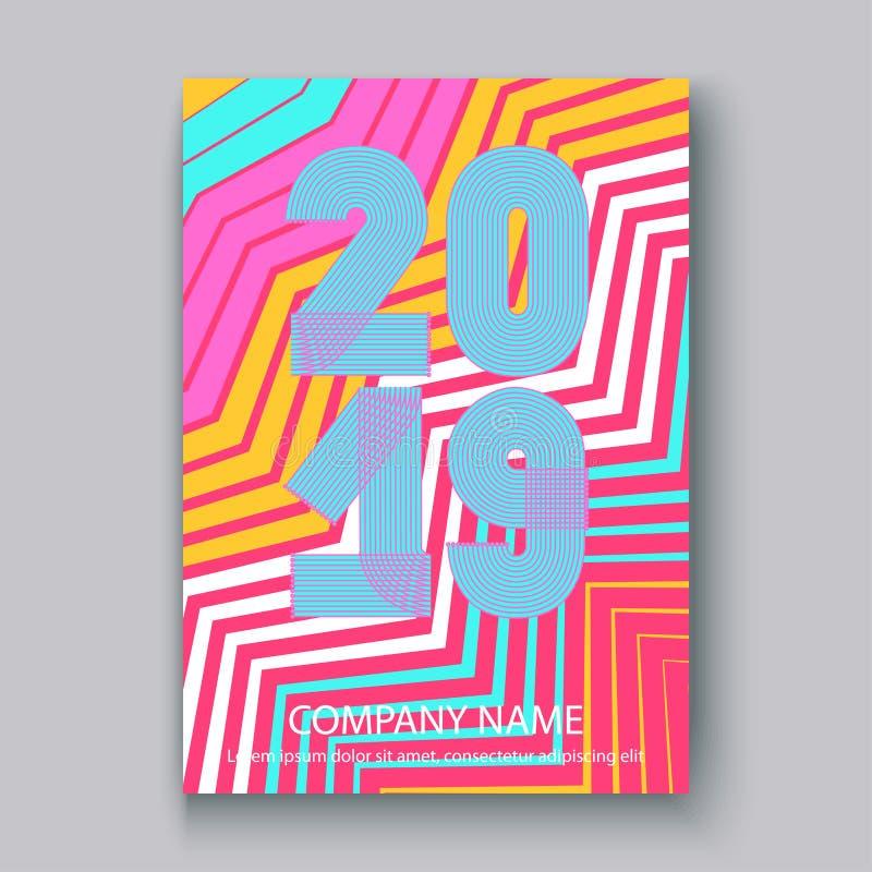 O informe anual da tampa numera 2019, zi de néon colorido do projeto moderno ilustração do vetor