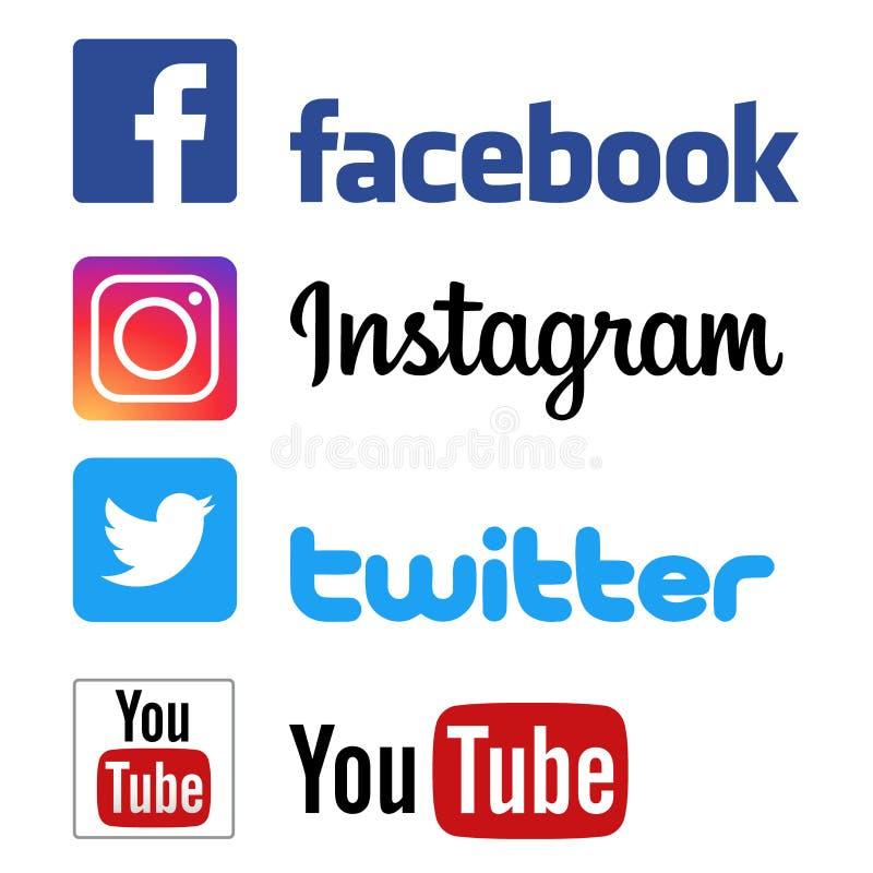 O instagram de Facebook pia logotipos de youtube ilustração royalty free