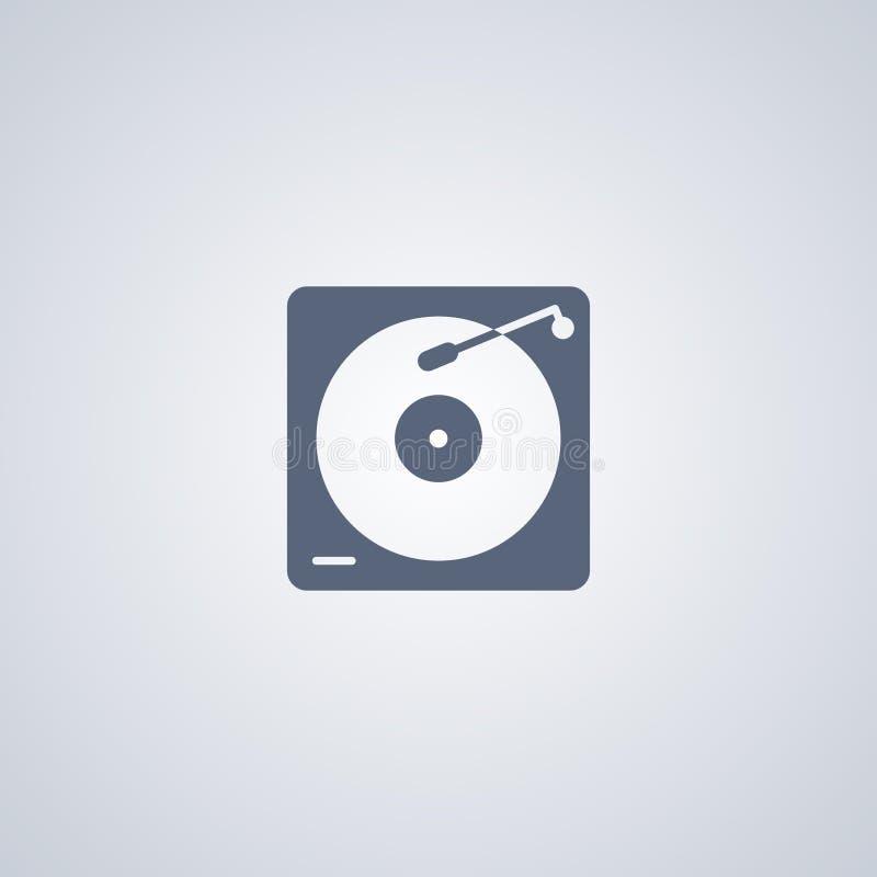 O instrumento do hardware do DJ, jogador de placas do vinil, vector o melhor ícone liso ilustração royalty free