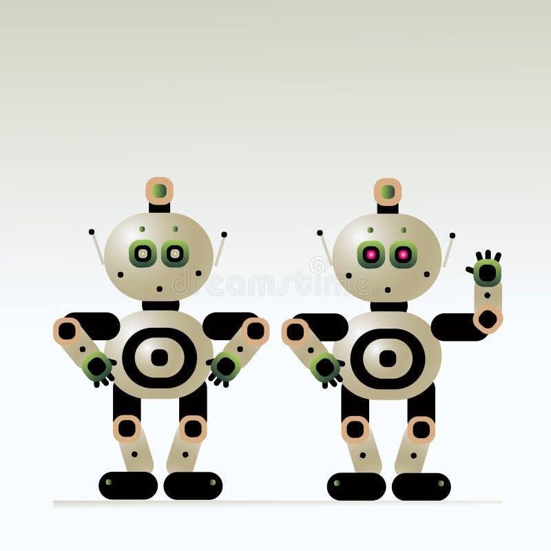 O instrutor assistente do robô humano responde a perguntas e dá boas-vindas a clientes ilustração do vetor