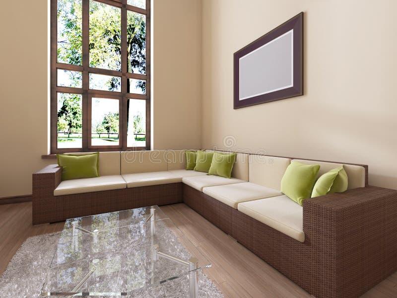 O interior é moderno no estilo com um grande sofá do rattan e uns coxins verdes ilustração stock