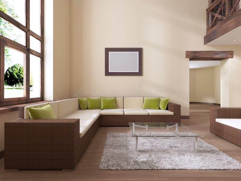 O interior é moderno no estilo com um grande sofá do rattan e uns coxins verdes ilustração royalty free