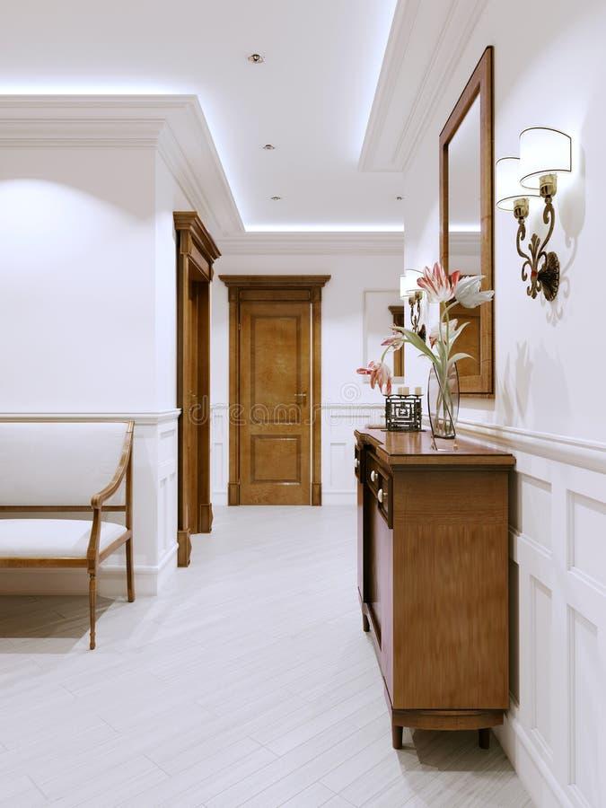 O interior é um corredor do clássico-estilo com paredes e os painéis de parede brancos e mobília e as portas de madeira ilustração royalty free