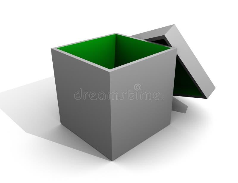 O interior aberto da caixa cinzenta verde/esvazia o branco isolado ilustração royalty free