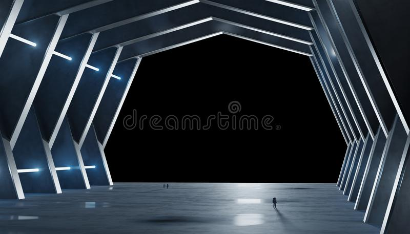 O interior azulado enorme da nave espacial do salão isolou a rendição 3D ilustração do vetor