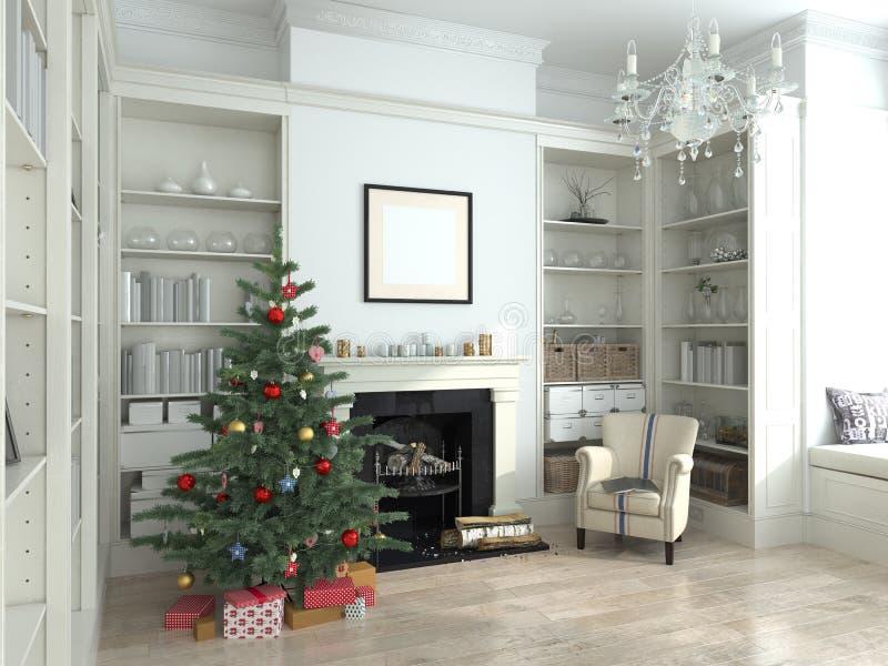 O interior branco do ano novo, árvore de Natal, 3D rende imagens de stock