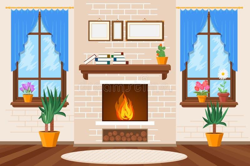 O interior clássico da sala de visitas com chaminé e as estantes vector a ilustração ilustração royalty free