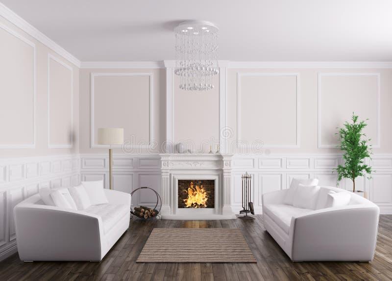 O interior clássico da sala de visitas com sofás e a chaminé 3d arrancam ilustração do vetor
