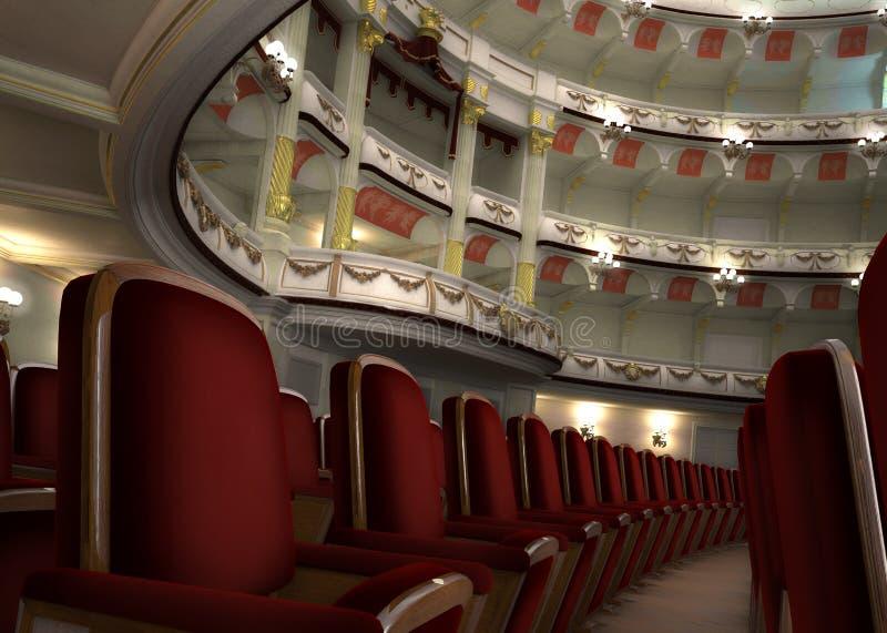 O interior clássico do teatro, com cadeira enfileira no primeiro plano. fotografia de stock royalty free