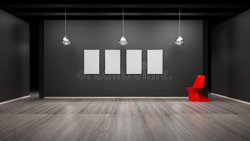 O interior com molduras para retrato vazias 3d rende ilustração do vetor