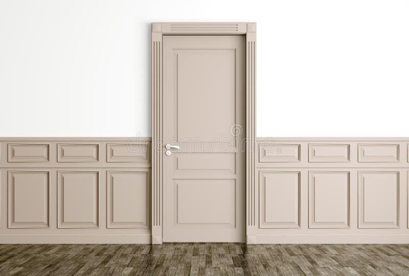 O interior com a porta bege clássica 3d rende ilustração royalty free