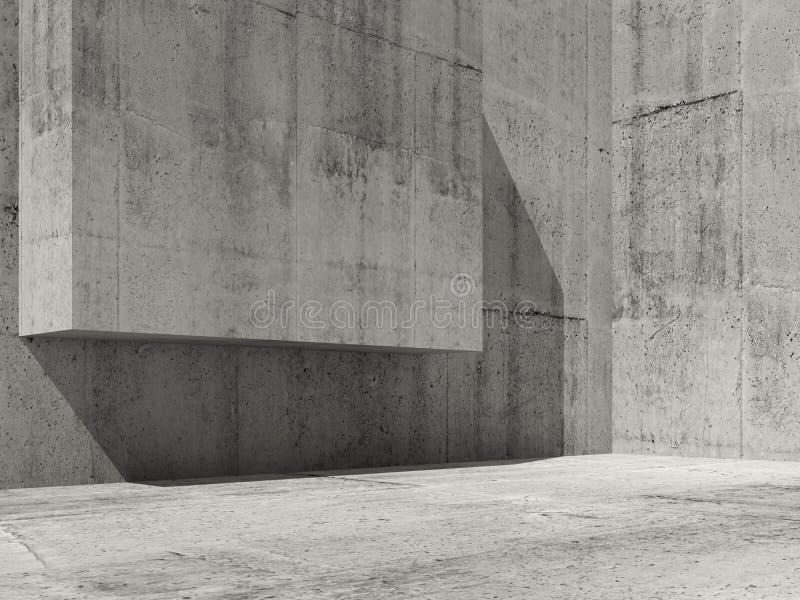 O interior concreto abstrato, 3d rende ilustração do vetor