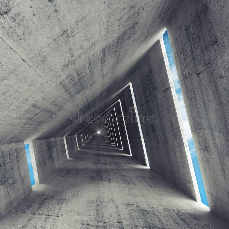O interior concreto cinzento vazio abstrato, 3d rende ilustração royalty free