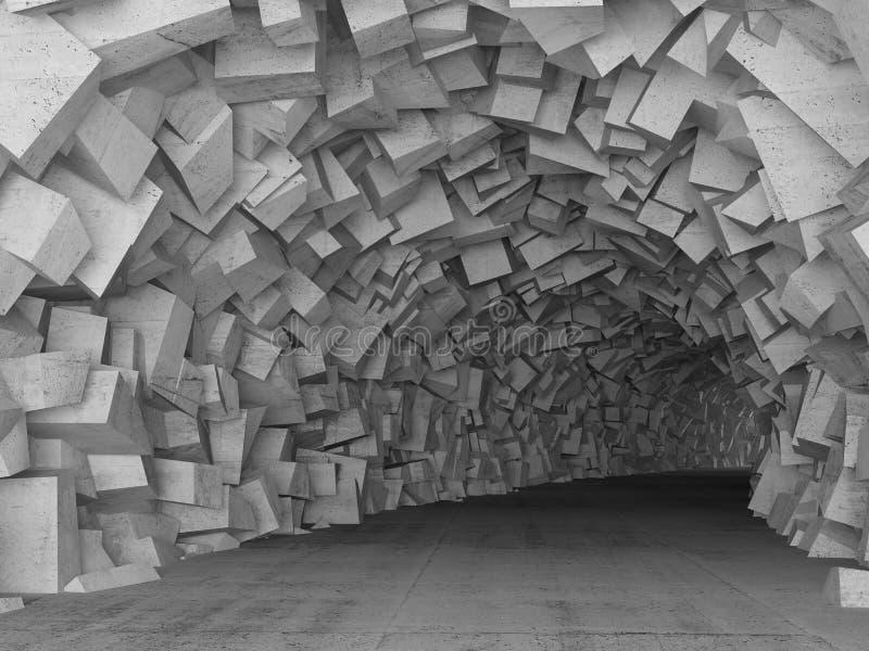 O interior concreto de giro do túnel, 3d rende ilustração stock