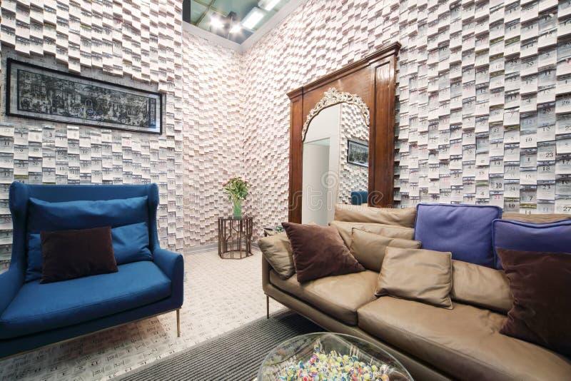 O interior da barra na exposição internacional da arquitetura e o projeto ARQUEIAM MOSCOU fotos de stock