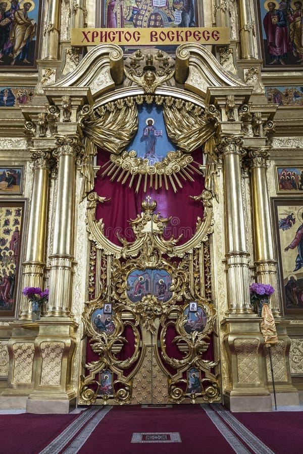 O interior da catedral da suposição no quadrado da catedral do Kremlin de Kolomna, Kolomna, região de Moscou, Rússia fotos de stock royalty free