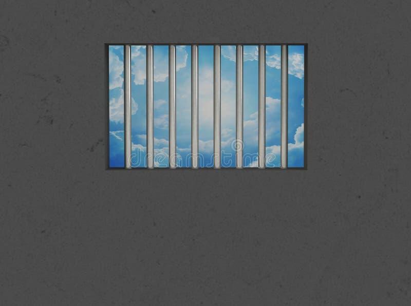 O interior da cela, janela barrada ilustração do vetor