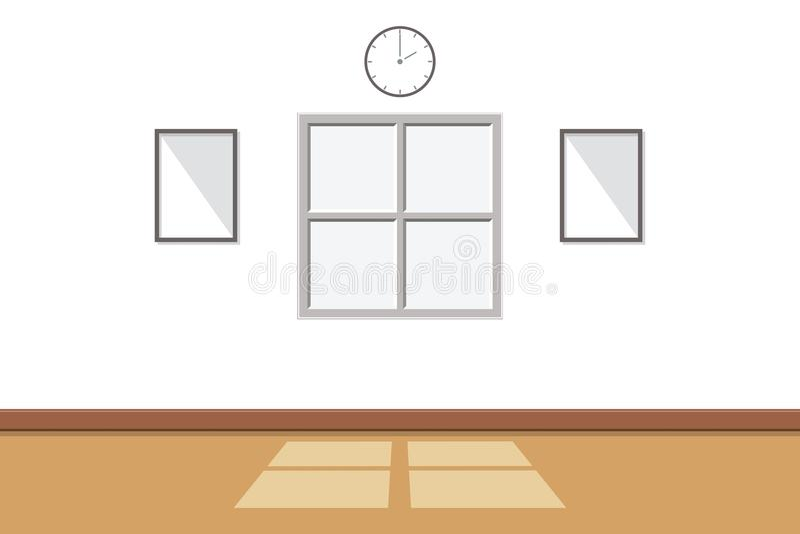 O interior da sala branca lá é luz solar através da janela com o fundo vazio da parede, ilustração do vetor ilustração do vetor