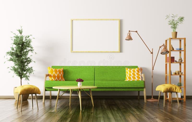 O interior da sala de visitas com sofá 3d rende ilustração stock