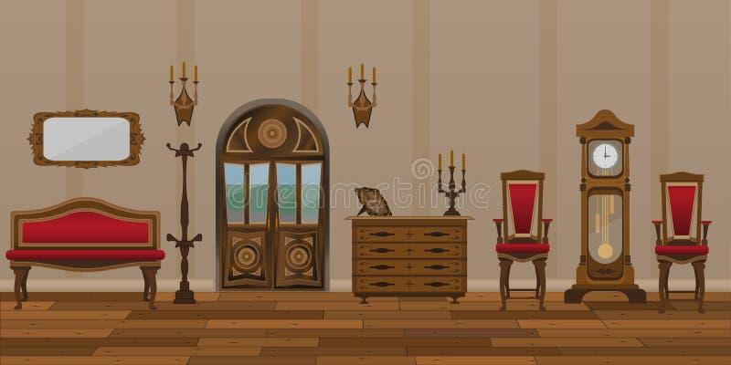O interior da sala de visitas no estilo retro ilustração royalty free