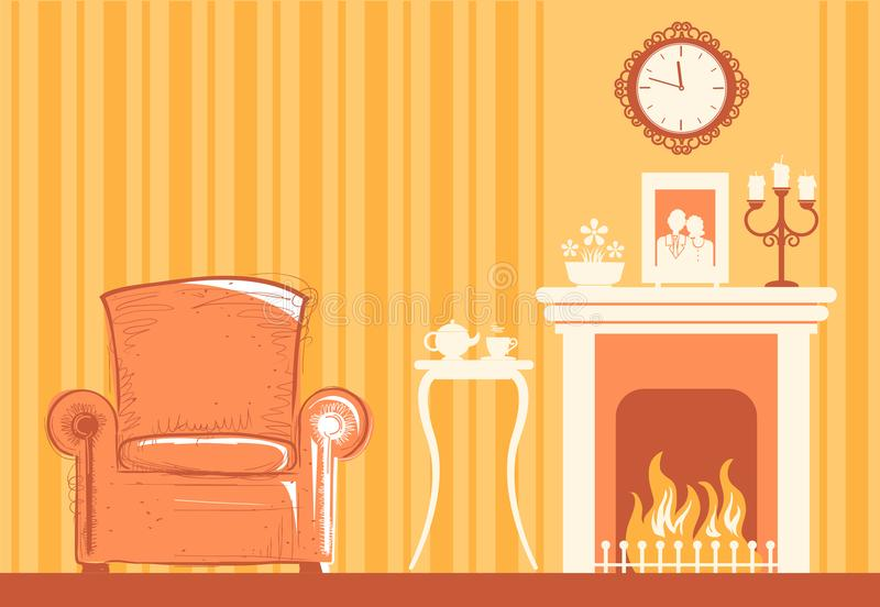 O interior da sala home com chaminé e a cadeira para relaxam ilustração stock